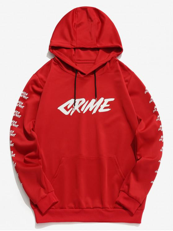 fashion Contrast Letter Pullover Hoodie - RED XS