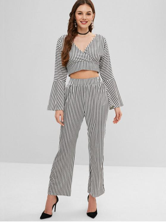 fancy ZAFUL Flare Sleeves Striped Top and Pants Set - WHITE L