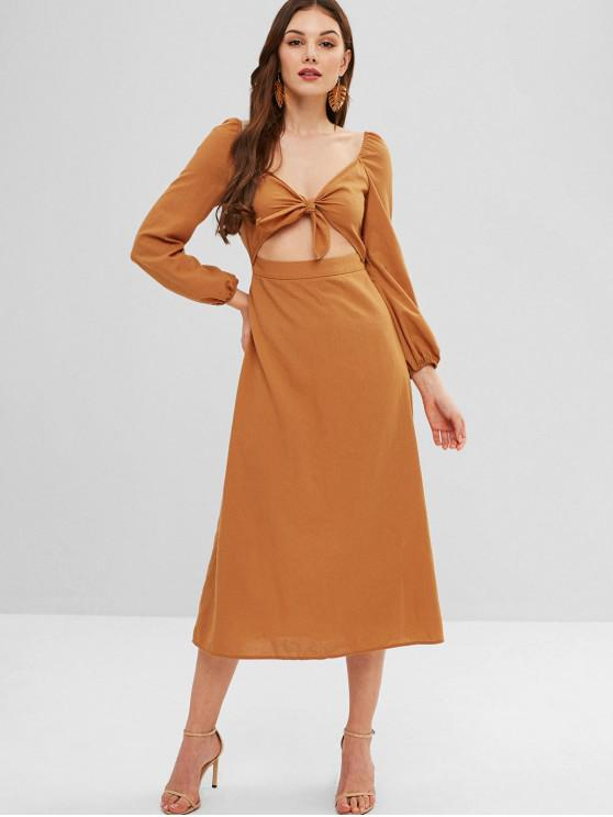 affordable ZAFUL Smocked Back Knotted Slit Dress - BEE YELLOW M