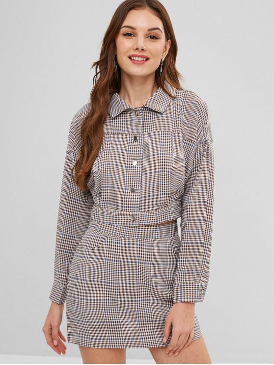 Conjunto de camisa de guinga y falda con abertura de ZAFUL - Multicolor M