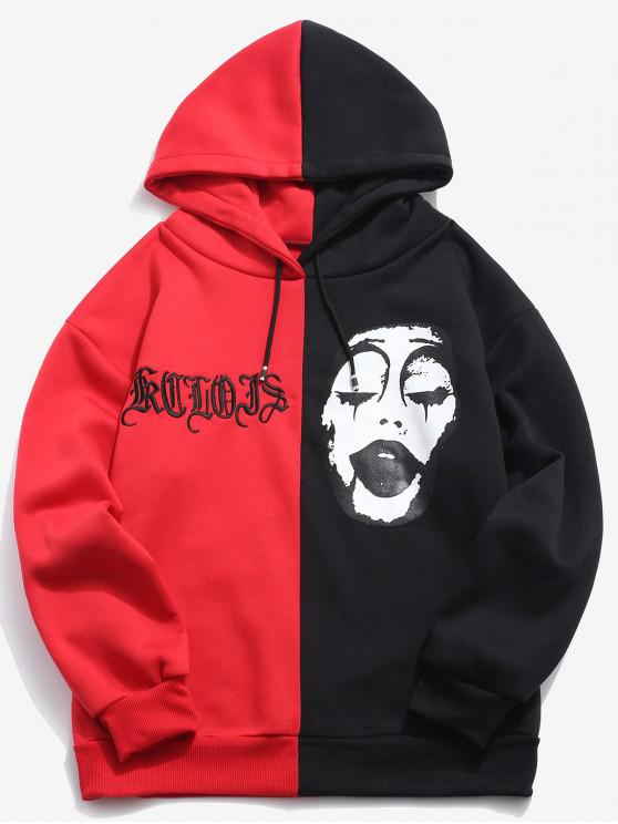 ladies ZAFUL Two Tone Color Face Printed Embroidery Hoodie - RED L