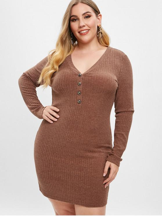 affordable ZAFUL Plus Size Low Cut Knitted Dress - BROWN L