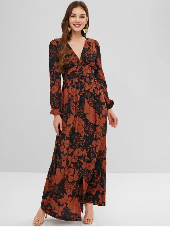 hot ZAFUL Plunge Flower Print Long Sleeve Dress - MULTI S