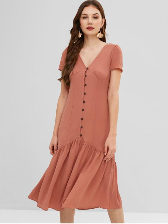 unique ZAFUL Flounce Midi Button Fly Dress - DARK SALMON L