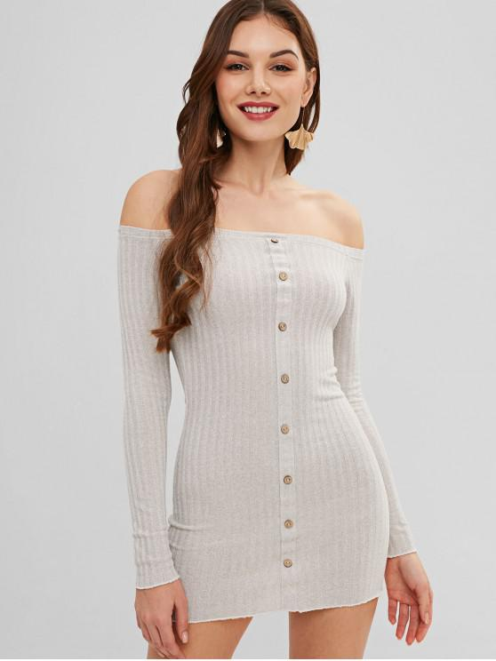 ladies Long Sleeve Off Shoulder Mini Bodycon Dress - LIGHT GRAY S