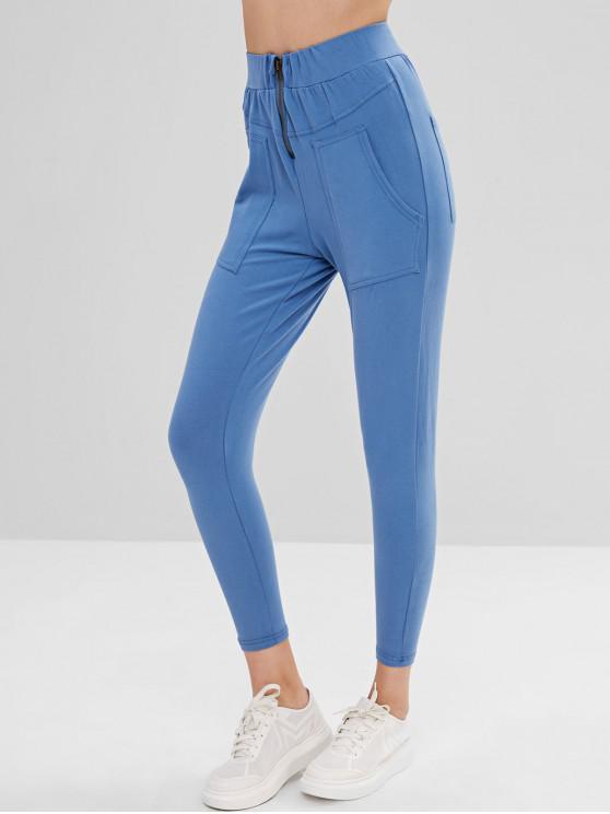 women Patch Pockets High Waisted Pants - SILK BLUE S