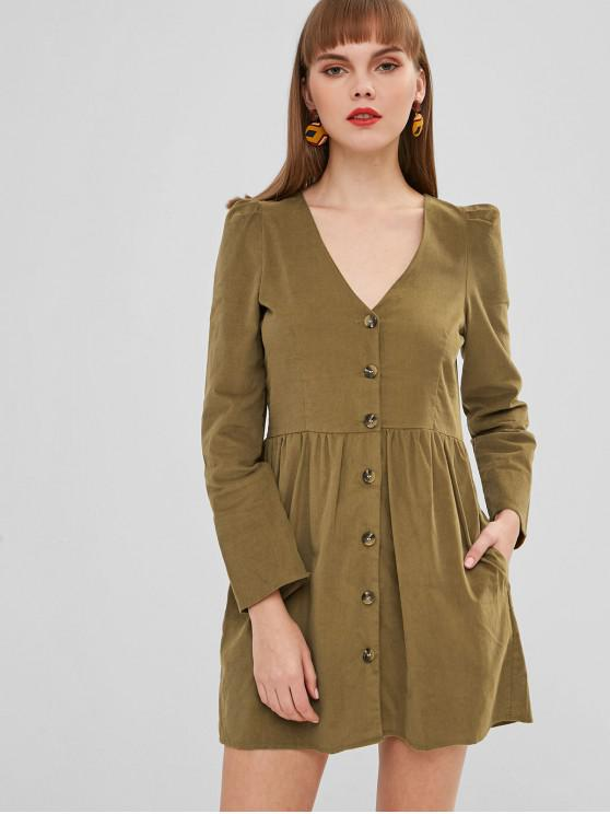 sale Single Breasted Pleated Corduroy Coat - DARK KHAKI M