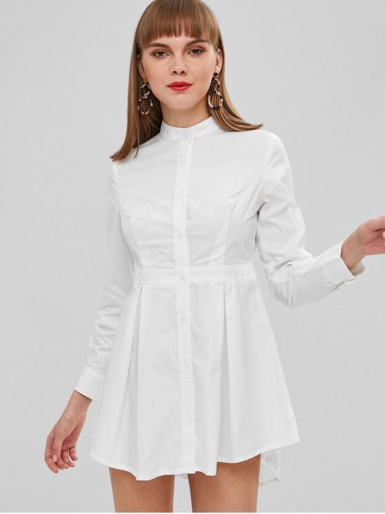 Vestido de camisa de botão de cor sólida voar - Branco M