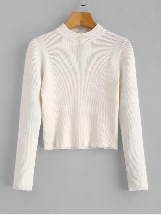 women's Mock Neck Cropped Pullover Sweater - WHITE ONE SIZE