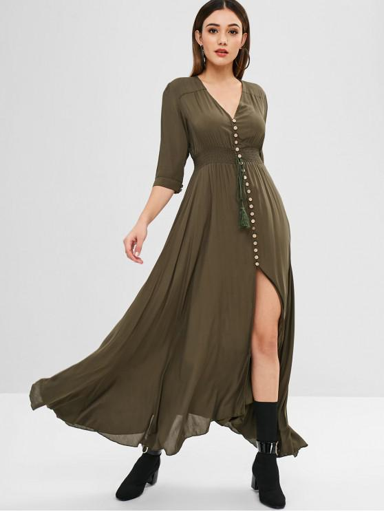 hot Button Down Shirred Waisted Maxi Dress - CAMOUFLAGE GREEN L