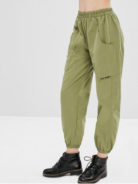 fancy Letter Embroidered Pocket Jogger Pants - CAMOUFLAGE GREEN ONE SIZE