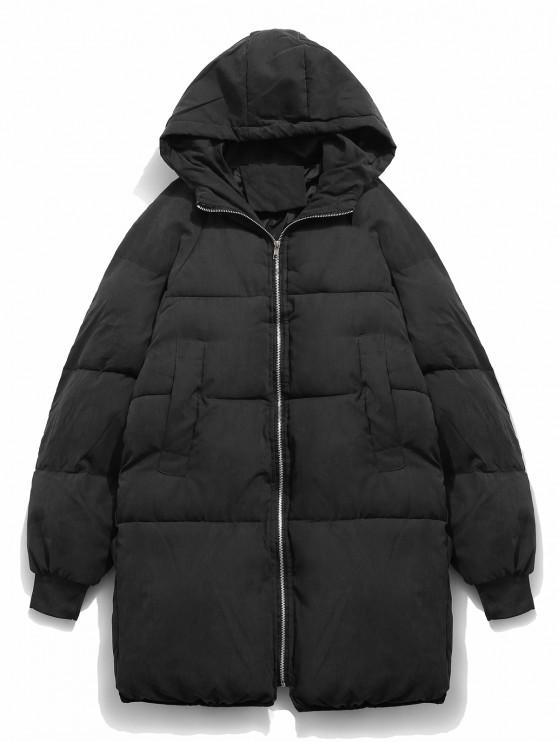 ladies Solid Bread Padded Trench Coat - BLACK L