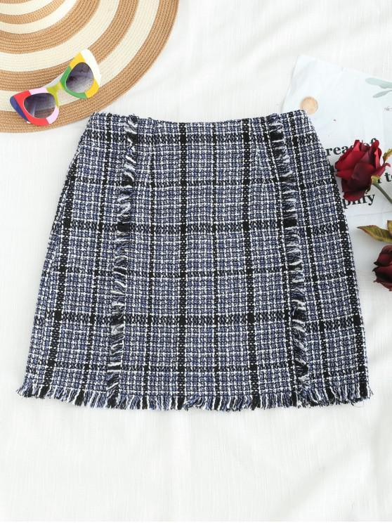 women Fringed Tweed Skirt - MULTI M