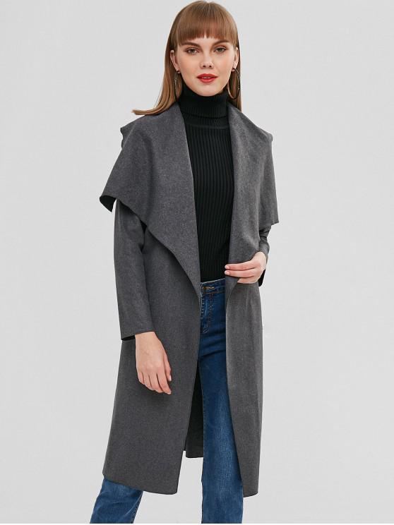latest Longline Woolen Wrap Coat - CARBON GRAY XL