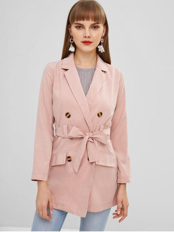 outfit Lapel Double Breasted Trench Coat - PINK XL