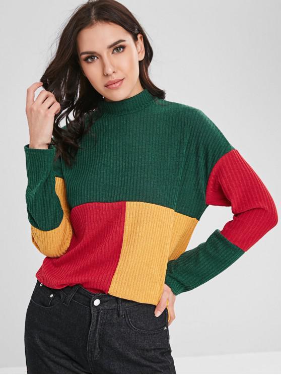 Suéter fino acanalado con cuello simulado de bloque de color - Multicolor S