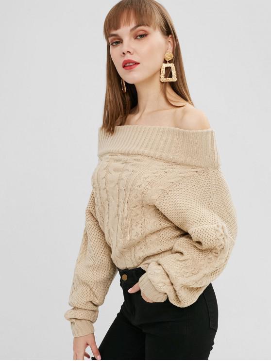 Fora do ombro cabo Knit Dolman Sweater - Branco Quente Um Tamanho