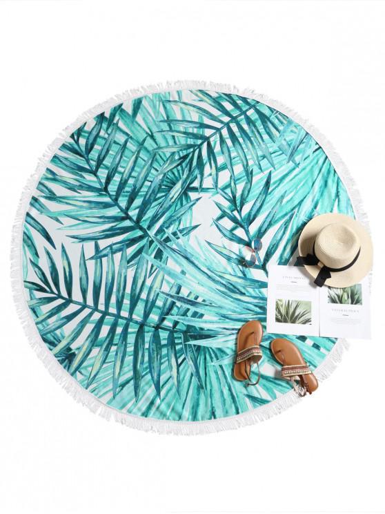 Toalla de playa con estampado de hojas con flecos - Multicolor-A Única Talla