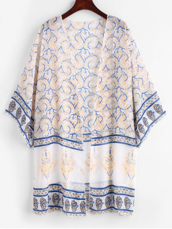 Kimono en mousseline à imprimé végétal - Blanc Taille Unique