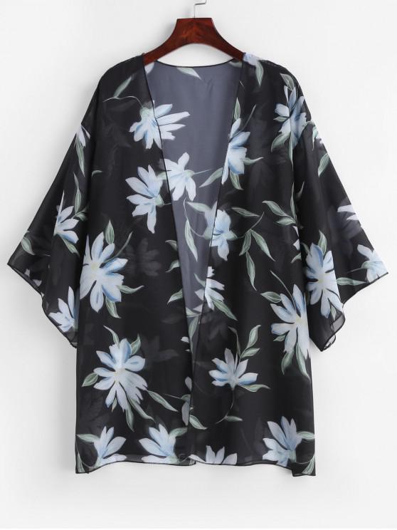 outfit Semi-sheer Floral Kimono - BLACK ONE SIZE