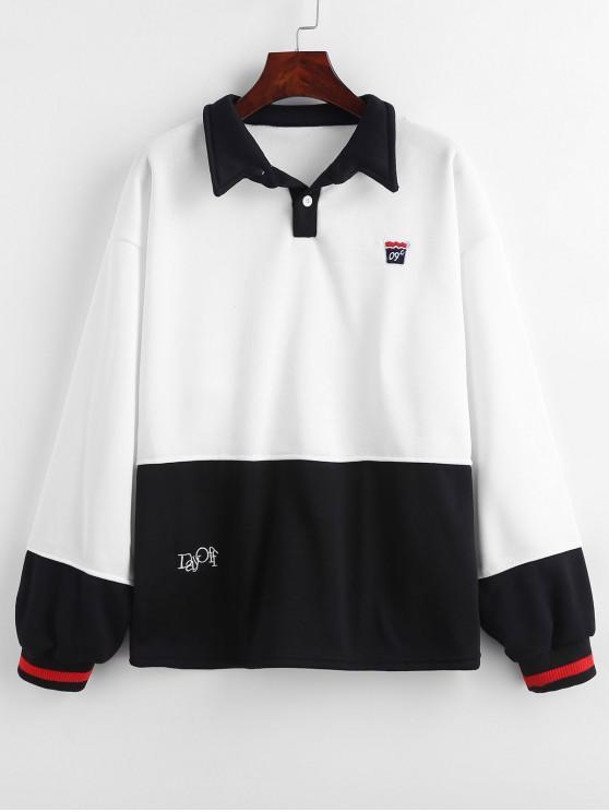 hot Embroidered Color Block Fleece Sweatshirt - WHITE M
