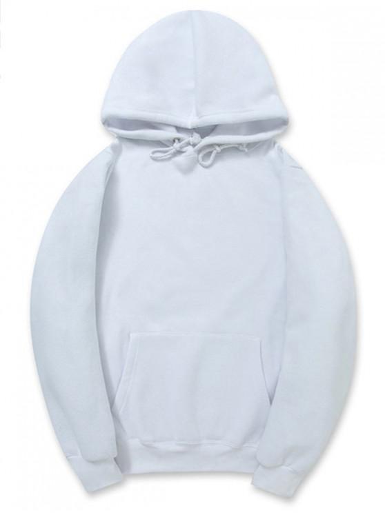 chic Casual Kangaroo Pocket Fleece Solid Color Hoodie - WHITE XL