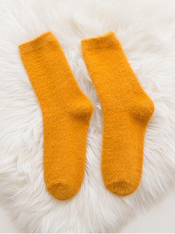 women Soft Solid Color Crew Socks - GOLDEN BROWN