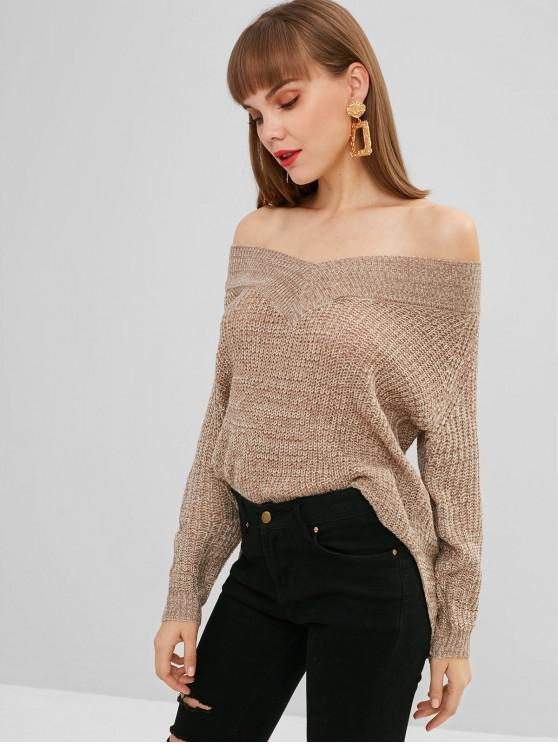 new Off The Shoulder Mixed Yarn Sweater - MULTI M