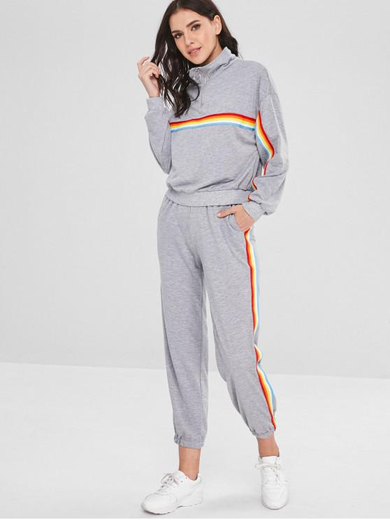 women's Half Zip Stripes Sweatshirt And Pants Set - GRAY CLOUD S