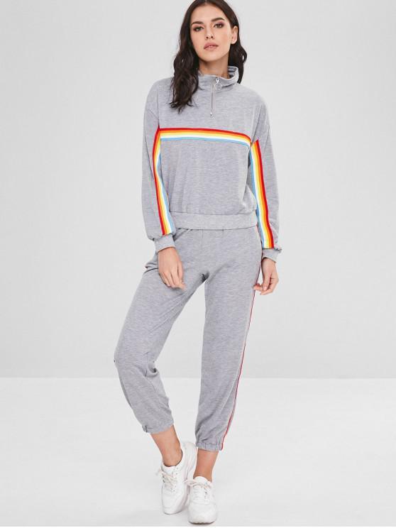 Et Sweatshirt Demi De À Xl Ensemble Rayé zip PantalonNuage Gris tshQrdCx