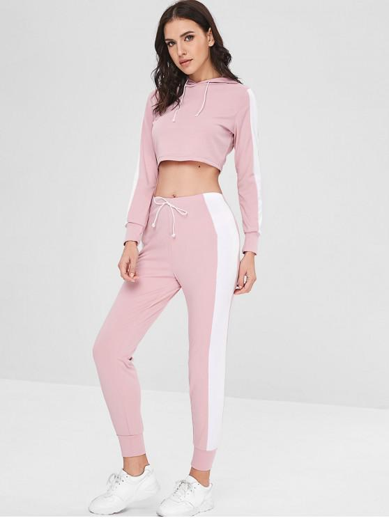 outfit Contrast Crop Hoodie and Pants Set - PINK M
