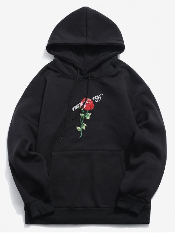 Zaful Pullover Rose Embroidery Hoodie   Black L by Zaful
