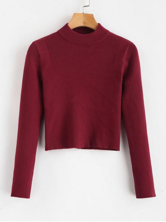 lady Mock Neck Cropped Pullover Sweater - RED WINE ONE SIZE