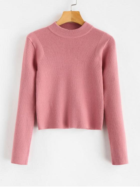 ladies Mock Neck Cropped Pullover Sweater - KHAKI ROSE ONE SIZE