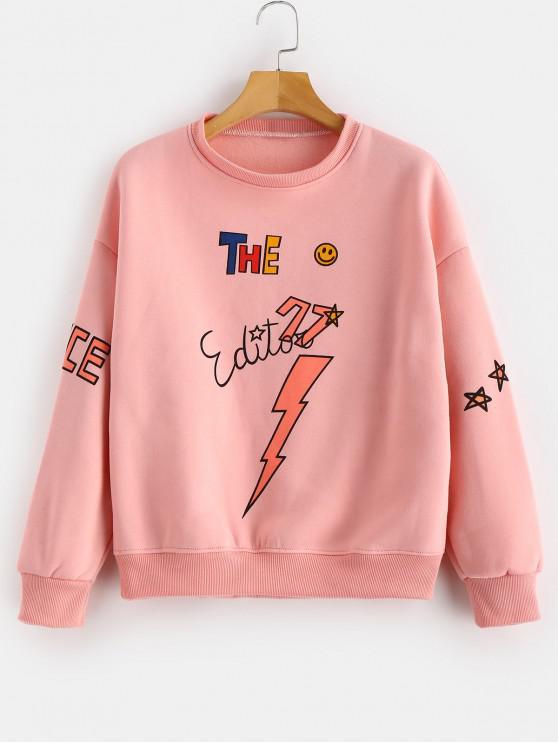 best Stars Pattern Print Fleece Sweatshirt - ORANGE PINK XL
