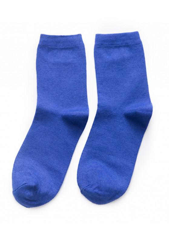 Simple Solid Color Crew Socks - أزرق