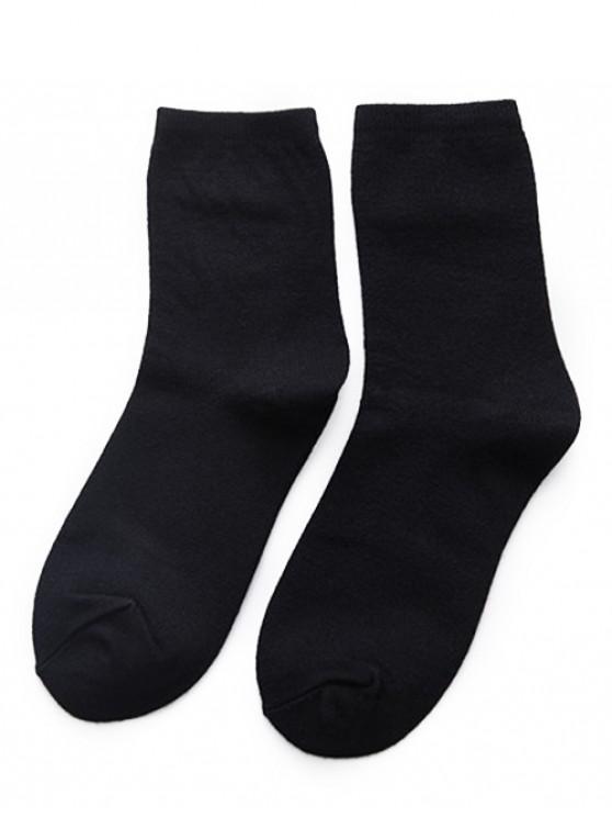 lady Simple Solid Color Crew Socks - BLACK