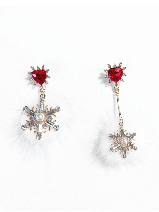 ladies Mink Hair Ball Snowflake Christmas Earrings - RED