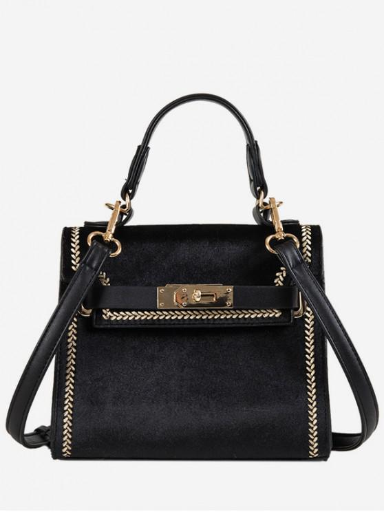 new Suede Design Hasp Handbag - BLACK