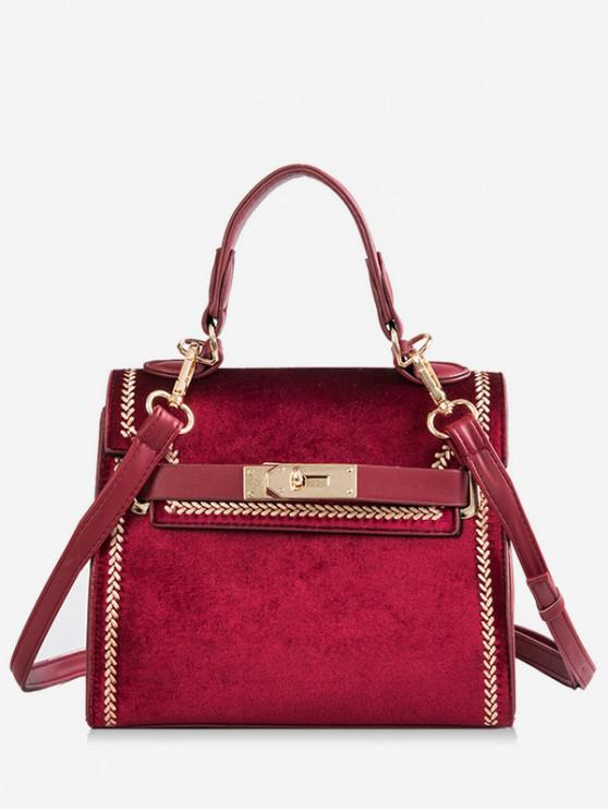 outfit Suede Design Hasp Handbag - RED WINE