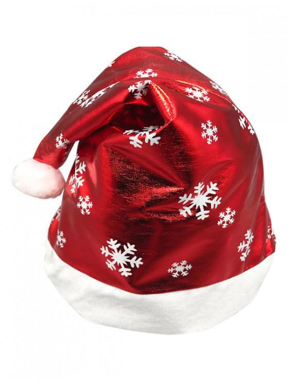 Chapeau de Fête de Noël Flocon de Neige Imprimé - Rouge Lave