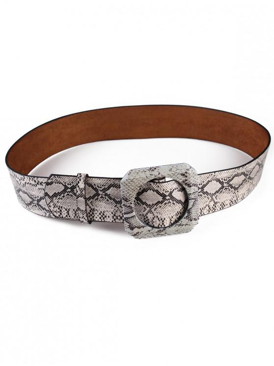 online Retro Snake Pattern Artificial Leather Waist Belt - BEIGE