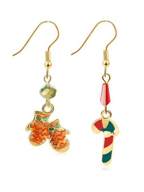 Christmas Candy Bar Gloves Shape Earrings - Ouro