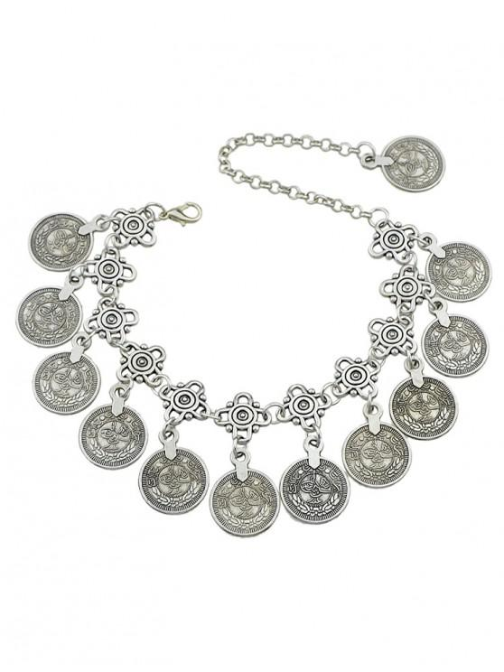womens Ethnic Style Coins Design Alloy Anklet - SILVER