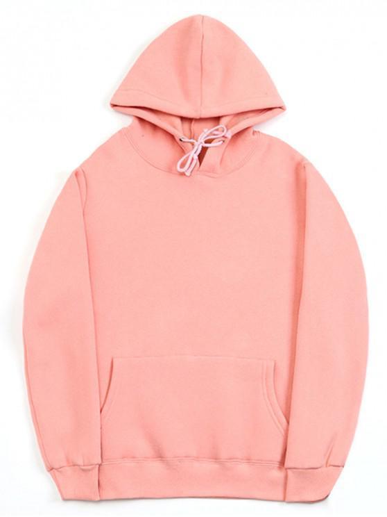 a98de1776 33% OFF] 2019 Casual Kangaroo Pocket Fleece Solid Color Hoodie In ...