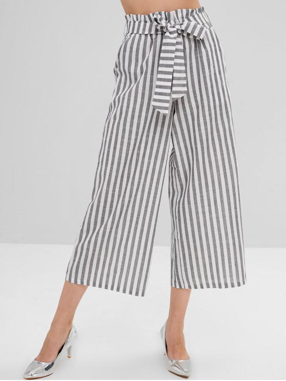 fancy Belted Striped Wide Leg Pants - MULTI-A L