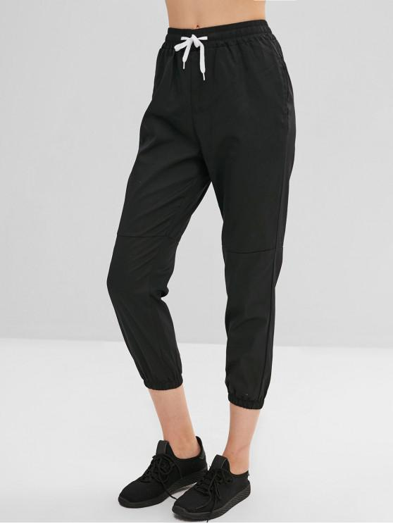 outfits Pocket Drawstring Ninth Jogger Pants - BLACK L
