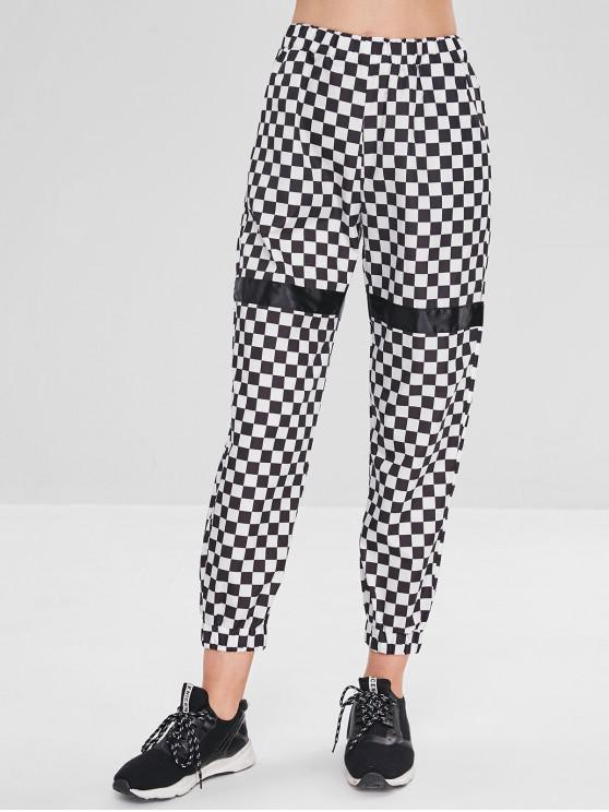 Pantalones de chándal a cuadros con bolsillos - Negro L