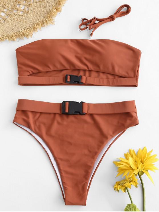 Zaful Cutout Buckled Bandeau Bikini Set   Cherry Red S by Zaful