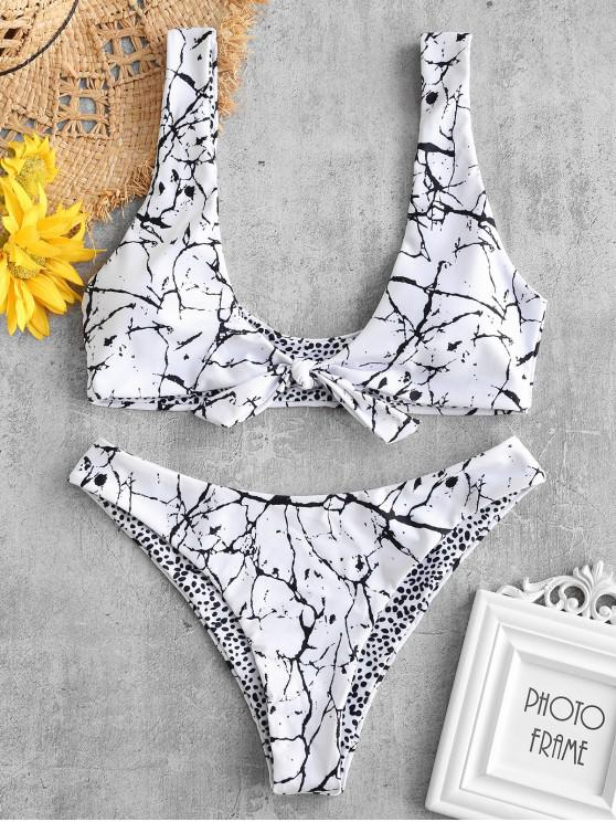 outfit ZAFUL Marble Print Knot Reversible Bikini Set - WHITE M